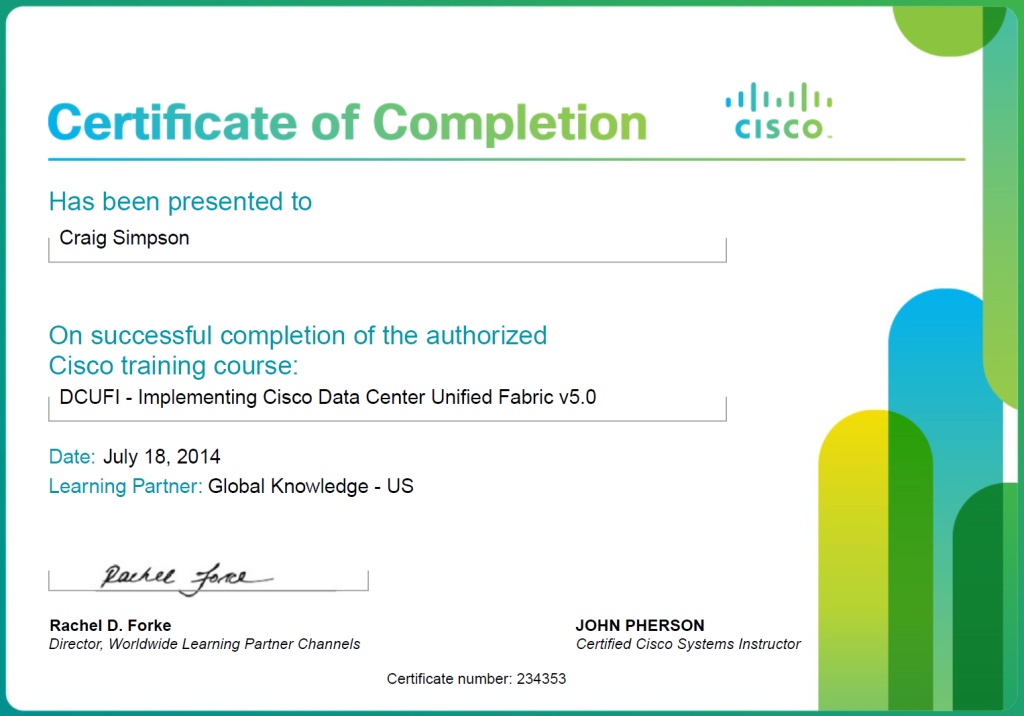 DCUFI 1024x716 Cisco Certified Course Completion Certificate DCUFI